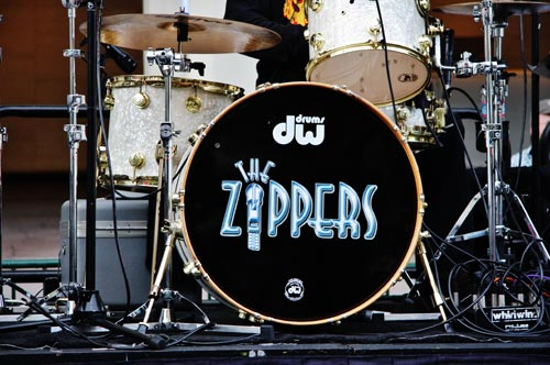 The Zippers band drum kit.